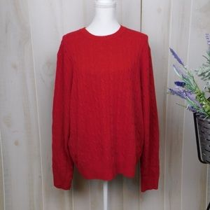 J. Crew Red Cabled Wool Crew Neck Sweater